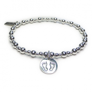 Sterling Silver Mixed Ball Bracelet with Baby Footprints Charm