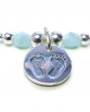 Sterling Silver Mixed Ball Bracelet with Blue Facets and Baby Footprints Charm