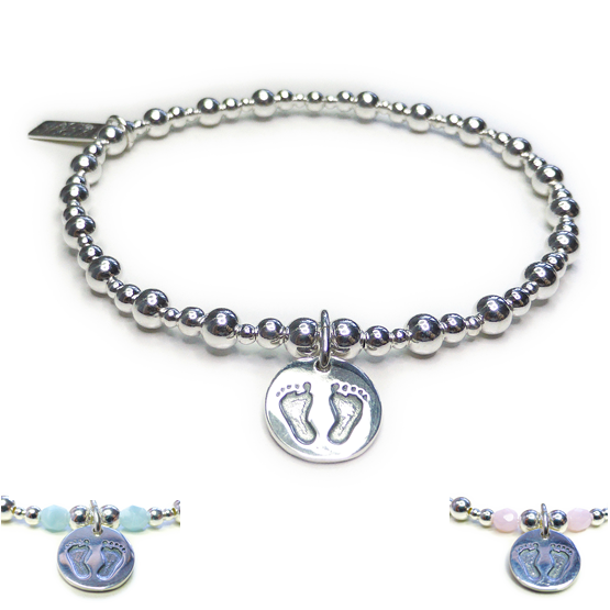 Sterling Silver Mixed Ball Bracelet with Blue or Pink Facets and Baby Footprints Charm