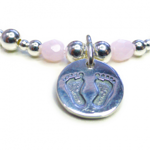 Sterling Silver Mixed Ball Bracelet with Pink Facets and Baby Footprints Charm