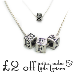 £2 off the Initial Cube and Little Letters Necklaces by Jacy & Jools