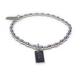 Sterling Silver Mixed Ball Bracelet with XOXO Charm