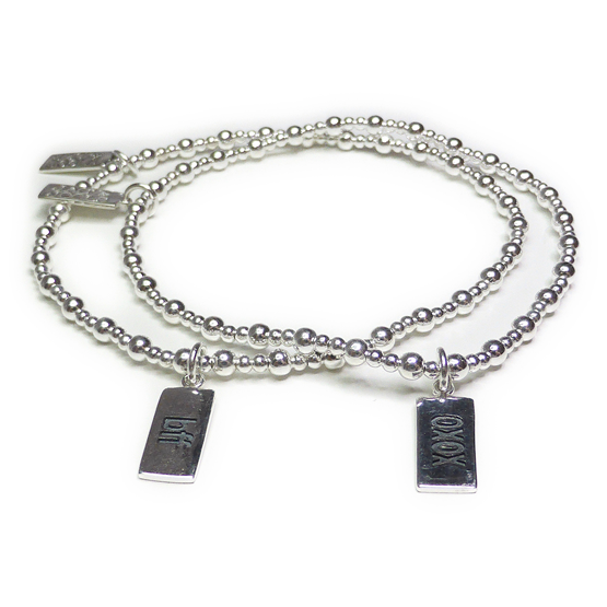 Sterling Silver Mixed Ball Bracelets with XOXO and BFF Charms