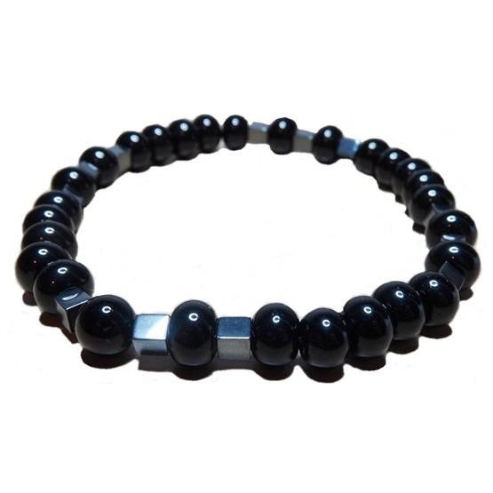 Black Onyx & Hematite Cube Bracelet for Men