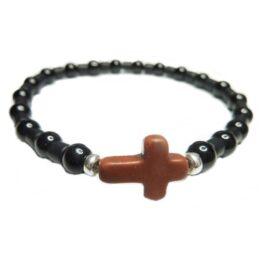 Black Onyx & Hematite Matte Tube Bracelet for Men