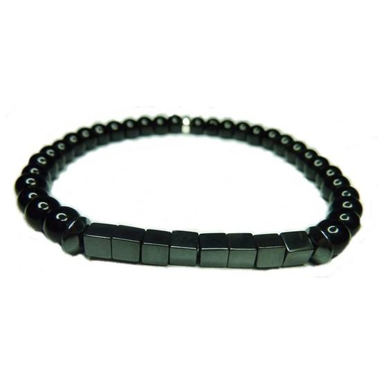 Black Onyx with Hematite Block Bracelet for Men