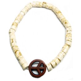Cream Heishi Bracelet with Brown Peace for Men