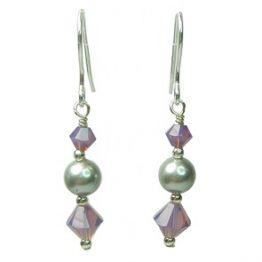 Sterling Silver Grey Swarovski Pearl and Purple Crystal Earrings