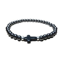 Hematite JoJo Bead Bracelet with Black Magnesite Cross