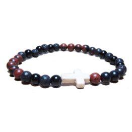 Lava Rock Black & Tan Bracelet with Cross