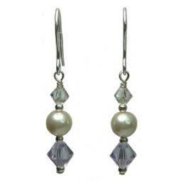 Sterling Silver Swarovski Pearl with Purple Drop Earrings