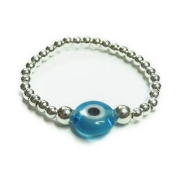 Sterling Silver Stacking Rings with Blue Turkish Glass Evil Eye Bead