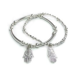 Sterling Silver Mixed Ball and Noodle Bracelets with Open Hamsa Charm