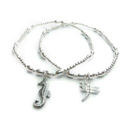 Sterling Silver Skinny Ball & Rice Bracelets with Dragonfly and Seahorse