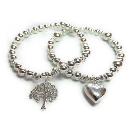 Chunky Fluted Ball Bracelets with Sterling Silver Heart & Tree of Life
