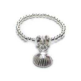 Sterling Silver Stacking Ball Ring with Shell Charm