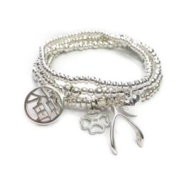 The Sterling Silver Happiness Bracelet Stack with Wishbone, Heart, Clover & Chinese Charms