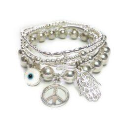 The Sterling Silver Karma Bracelet Stack with Dragonfly, Evil Eye, Hamsa & Peace Charms