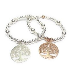 Chunky Ball and Fluted Ball Bracelet with Tree of Life Charms