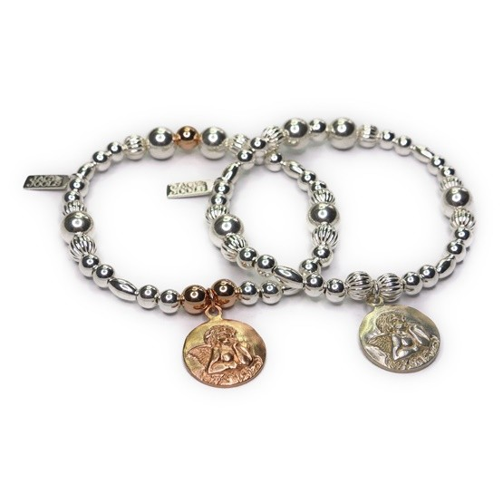 Chunky Mixed Metal Ball & Rice Bracelet with Sterling Silver and Rose Gold Plated Vermeil Cherub