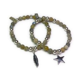 Labradorite & Sterling Silver Ball Bracelets with Feather and Star Charms
