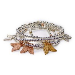 Sterling Silver Ball Bracelets with Sterling Silver, Rose Gold or Gold Plated Vermeil Double Wings