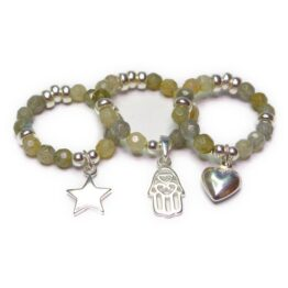 Labradorite & Sterling Silver Rings with Heart, Hamsa & Star Charm