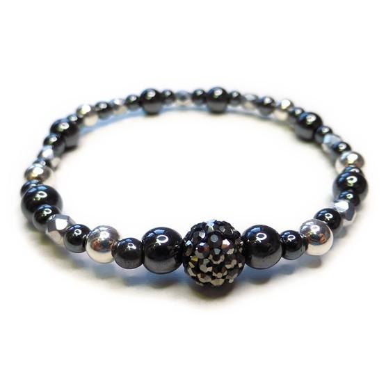 Chunky Hematite & Sterling Silver Bracelet with Gunmetal Pave Crystal