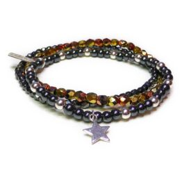 The Hematite & Silver Glitterball Stack with Sterling Silver Star Charm