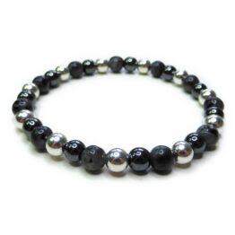 Black Labradorite Men's Midi Bracelet with Sterling Silver & Hematite Ball Beads