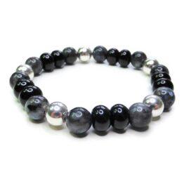 Chunky Black Labradorite Men's Bracelet with Sterling Silver & Black Onyx