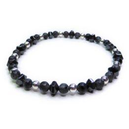 Skinny Black Labradorite Men's Bracelet with Sterling Silver and Faceted Hematite